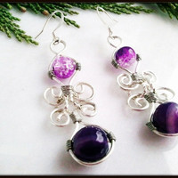 Purple Agate Wire Wrapped Women's Earrings | Dangle Purple Gemstone Earrings Sterling Silver Ear Hooks | Lady Green Eyes Jewelry