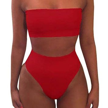 DCCKUG3 Misassy Womens Sexy High Waisted Bikini 2 Piece Bandeau Swimsuit Top Cheeky Bottoms Set