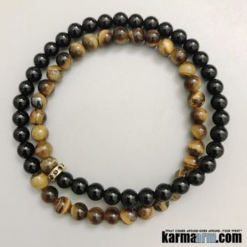 DRIVING FORCE: Black Onyx | Tiger Eye | Pave Yoga Chakra Double Wrap Bracelet