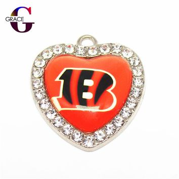 Cincinnati Bengals Football Team Crystal Glass Heart Sports Hanging Dangle Charms DIY Women Bracelet Necklace Jewelry Accessory