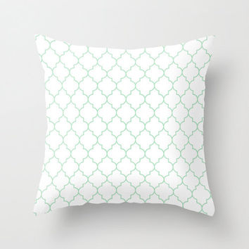 Mint Pillow - Velveteen Pillow - Quatrefoil Pillow - Green Pillow - Girls Room Decor - Teen Room Decor - Dorm Decor - Mint Cushion