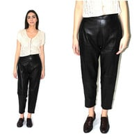 black leather trousers 90s minimalist Danier high waisted tapered skinny leather pants size 27 28
