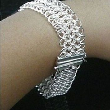 Fashion jewelry 925 stamped silver plated bracelet women charm bracelets
