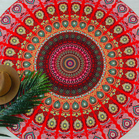 Red Tribal Print Round Beach Blanket