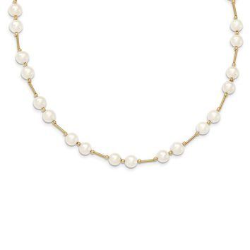 14k Yellow Gold Bead And 6-7mm White FreshWater Cultured Pearl Necklace