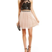 Sequin Hearts High-Neckline Sequin Lace Bodice Two-Piece Dress | Dillards