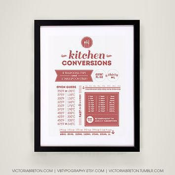 Kitchen Conversions - 11x17 typography print - kitchen measurements print - kitchen de