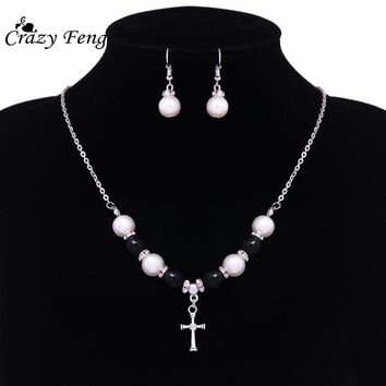 Small Beads Chain Jewelry Sets Cross Pave Pendant Necklace Simulated Pearl Earrings Cute Jewelry Sets For Women Girls Kids Gift