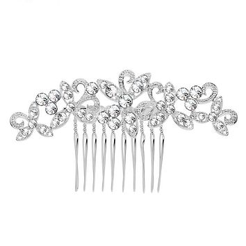 Sparkly Rhinestone Crystal Leaf Flower Hairpins Silver Color Wedding Tiara Bridal Hair Combs Women Wedding Hair Accessories