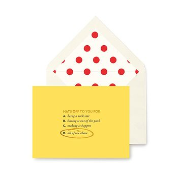 Hats Off To You Congratulations Greeting Card, Single or Boxed Set of 8