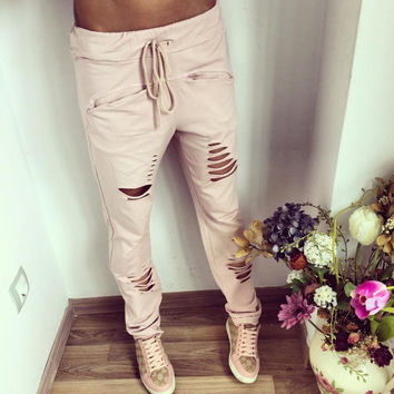 New Fashion Summer S-XXL Plus Size Solid color Womens Harem Pants Nineth Capris Casual Trousers