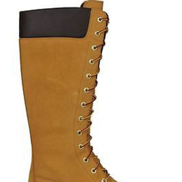 "Timberland Womens Premium 14"" Boots Waterproof Wheat Nubuck 8633A"