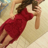 Homecoming Dress, Detachable Sleeveless Burgundy Sweetheart Short Prom Dress