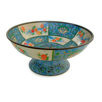 Vintage Baret Ware Tin Bowl, Canton Compote No. 36, Shabby Chic Decor, Pedestal Bowl, Candy Dish, Asian Theme, Lotus Flowers