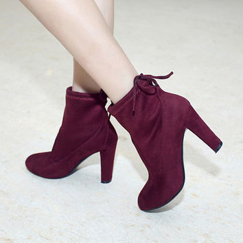 Suede Round Toe Back Strap High Block Heel Ankle Boots