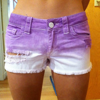 Purple Dip Dyed Shorts by BreBaileyBootyShorts on Etsy
