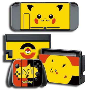 The Legend of  Pikachu Vinyl Skin Stickers for Nintendo Switch Console Protector Cover Decal Vinyl Skin for Skins StickerKawaii Pokemon go  AT_89_9