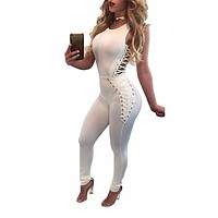 Women Bandage Jumpsuits 2017 Sleeveless Bodycon One Piece Outfits Long Pants White Black Sexy Tie Up Rompers Womens Jumpsuit