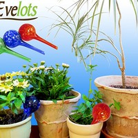 Evelots 3 Mini Decorative Glass Watering Globes,Plant Watering, Assorted Colors