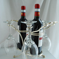 Silver Plated Bar Ware/ Wine Caddy / Wine Rack / Wine Glass Holder