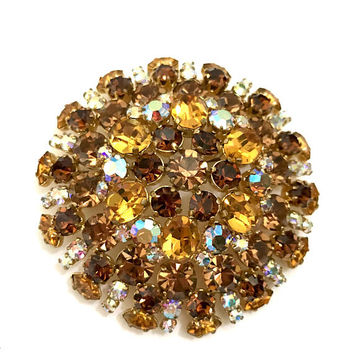 Large Austrian Rhinestone Brooch, Citrine Topaz Mink and AB Rhinestones, Gold Tone, Tiered Domed, Tiered Domed Design, Vintage Gift for Her