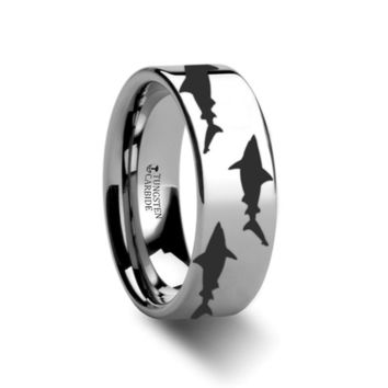 Sea Pattern - Shark Predator Fish - Sea Print Ring - Laser Engraved - Flat Tungsten Ring - 4mm - 6mm - 8mm - 10mm - 12mm