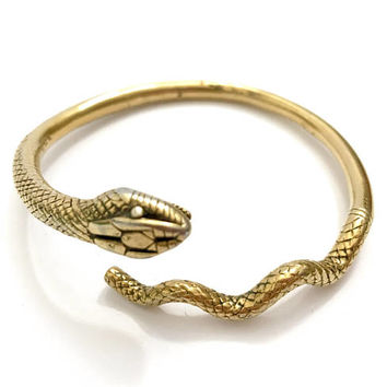 Metropolitan Museum of Art Gold Tone Snake Bangle, Textured Gold Metal, Arm Bangle, Etched Details, Vintage 1970's, Gift for Her, Signed MMA
