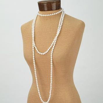 Long White Faux Pearl 1920s Style Necklace - 20s style jewelry