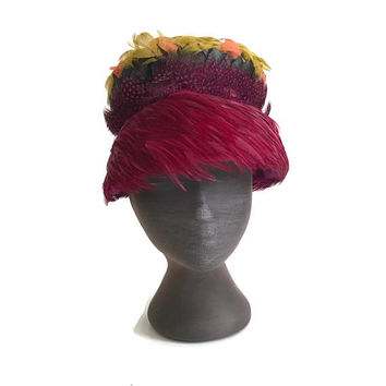 Vintage 1960s Feather Hat Autumn Colors Various Feathers 60s Fashion Hat Halloween Costume Pillbox with Brim Statement Hat