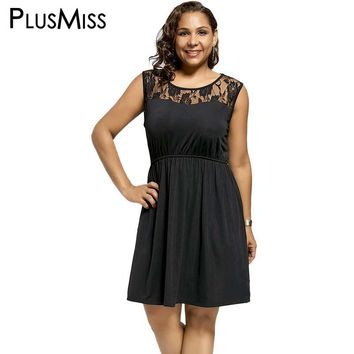 Plus Size 5XL Sexy Floral Lace Crochet Sleeveless Skater Dress Women Open Back Blackless Elegant Party Tank Dresses Black