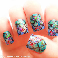 Fish Scales Mermaid Fake Nails