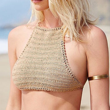 Halter Knitted Bandage Crop Top