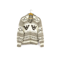 vintage 70s wool thunderbird cowichan sweater / white / thick / SOFT / lebowski / native american / heritage / pacific northwest mens small