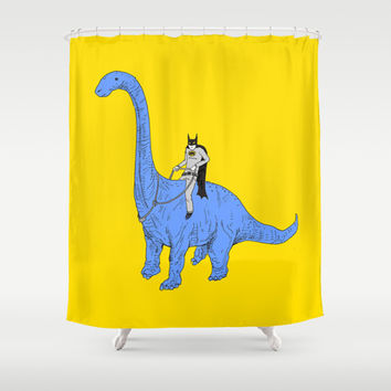 Dinosaur B Shower Curtain by Joe Carr