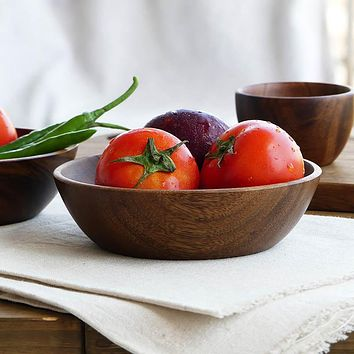 Large Round Wooden Salad Bowl