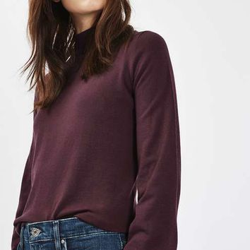 Blouson Sleeve Funnel Neck Jumper - Sweaters & Knits - Clothing