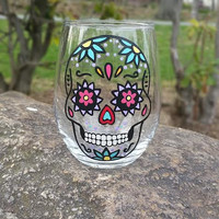SUGAR SKULL hand-painted STEMLESS wine glass (AQUA FLOWERS)