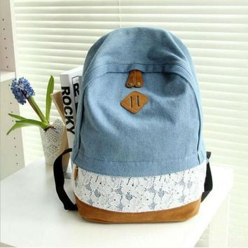 Fashion Floral Lace +Denim Canvas Women Bag Backpack School bag For Teenagers Ladies Girl Back Pack Schoolbag Bagpack Mochila