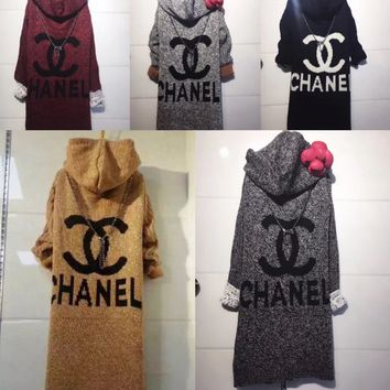Chanel Hooded Sweater Knit Cardigan Jacket Coat