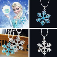 Girl Blue Crystal Elsa Snowflake Necklace  Winter Pendant Anna Charm Fashion Necklaces For Most Popular Christmas Gift