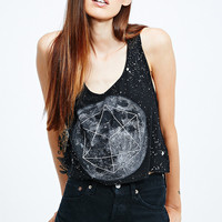 Bone White Moon Crop Tank in Black - Urban Outfitters