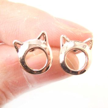 Kitty Cat Animal Ears Cut Out Stud Earrings in Rose Gold   DOTOLY