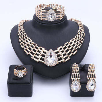 OUHE Jewelry Sets For Women Summer Style African Beads Wedding Accessories Bridal Clear Crystal Costume Necklace Earrings Bangle