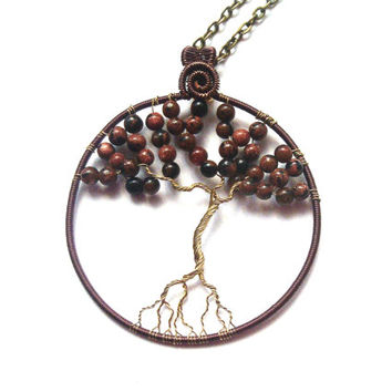 Tree Of Life Necklace, Wire Wrapped Gemstone Tree Of Life Pendant, Wire Wrapped Jewelry, Necklace Charm, Goldstone Jewelry, Christmas Gift