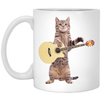 Cat Playing Guitar Coffee Mug by Living You Co. | Funny Cat Mug, Cat Coffee Cup, Cat Mug