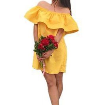 Wide Boat Neck Yellow Summer Beach dresses