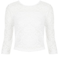 Tall Half Sleeve Lace Crop - Tall Tops -Tall- Clothing - Topshop