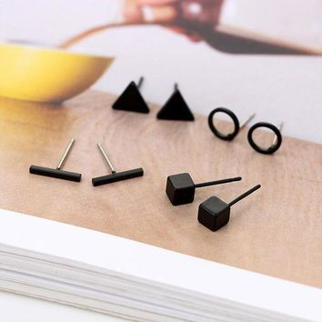 ac spbest New Arrival Round triangle Shaped Silver Gold Black Color Alloy Stud Earring For Women Ear Jewelry 4 pairs