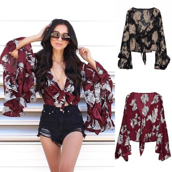 Floral Flare Sleeve Print Blouse