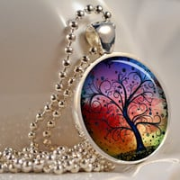Rainbow Tree Pendant Resin Pendant Picture Pendant Photo Pendant Resin Jewelry C119S